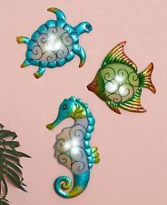 Lighted Coastal Fish Sea Life Wall Sculptures Seahorse Turtle Tropical Wall Art