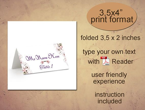 Place card printable template Instant download diy editable