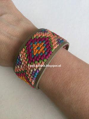 Borduur armband in Ibiza stijl door VanLiesbeth.blogspot.com