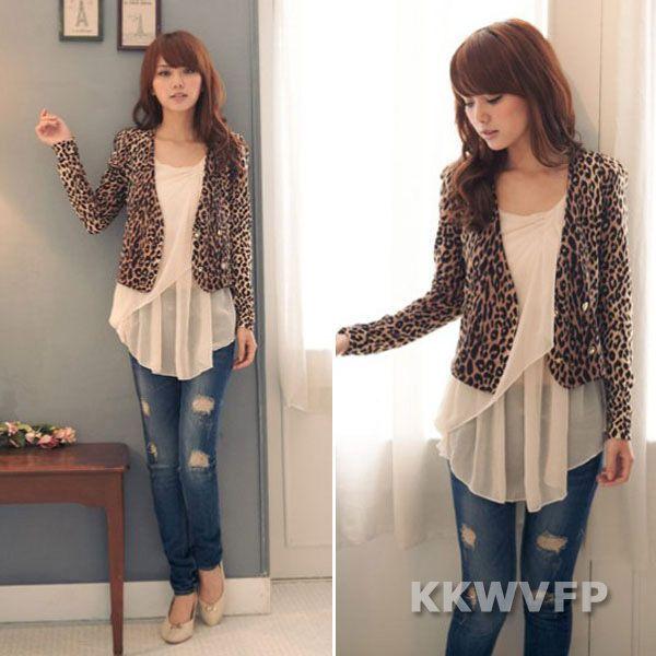 Sexy Women Leopard Long Sleeve Button Knit Bolero Slim Fit Cropped Jacket Blazer