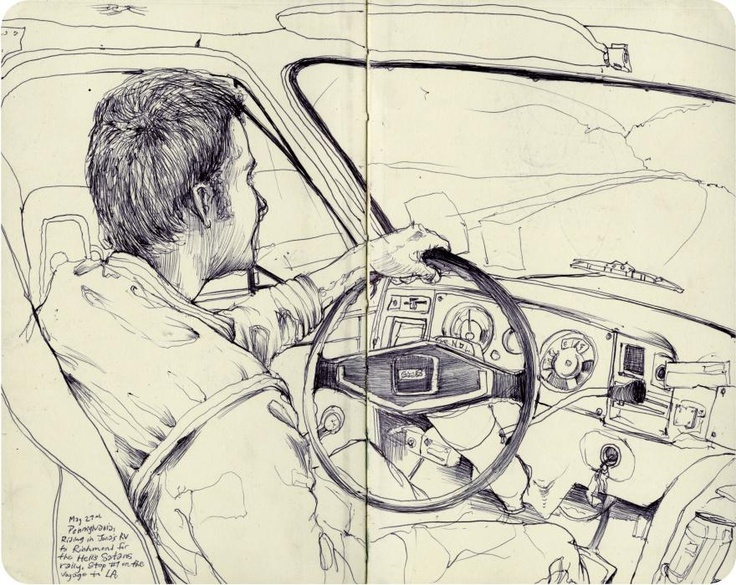 Pat Perry Sketches |  This composition features the inside of a car, and the person driving. The most detail as far as value goes is on the person and steering wheel. I was interested in this drawing because of the subject matter, although I feel more value could be built up elsewhere in the drawing.