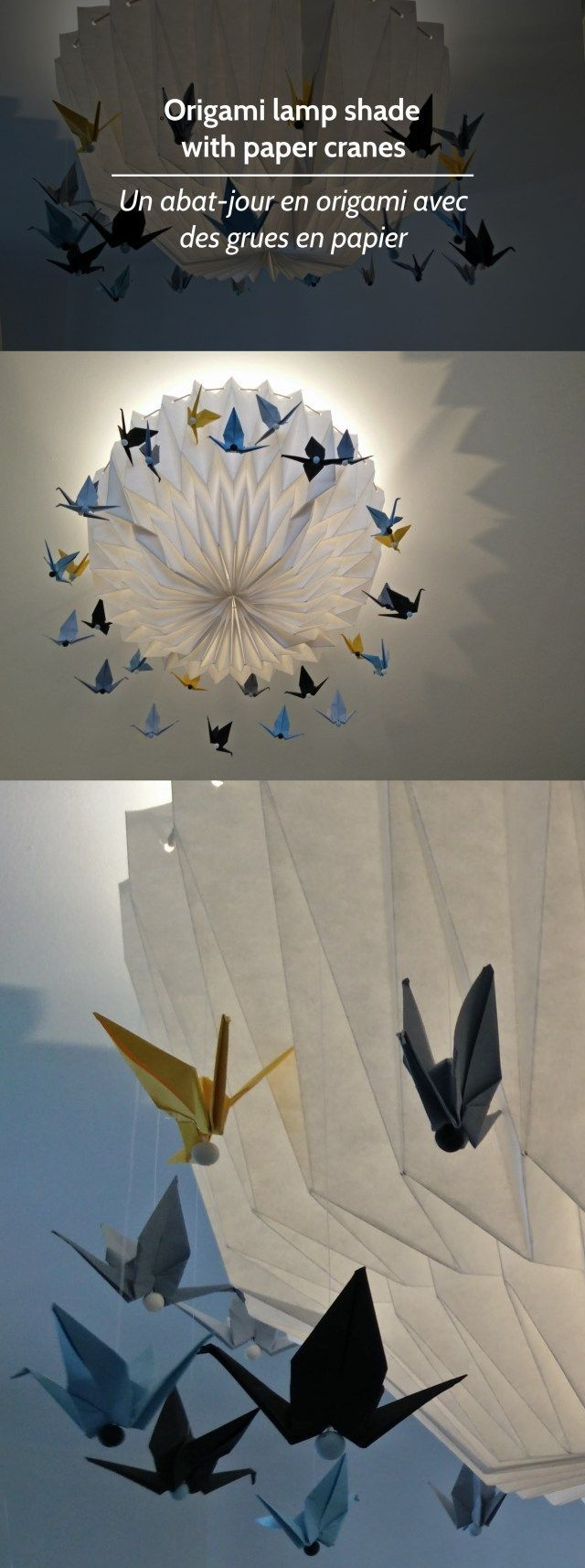 Origami lamp shade with paper cranes