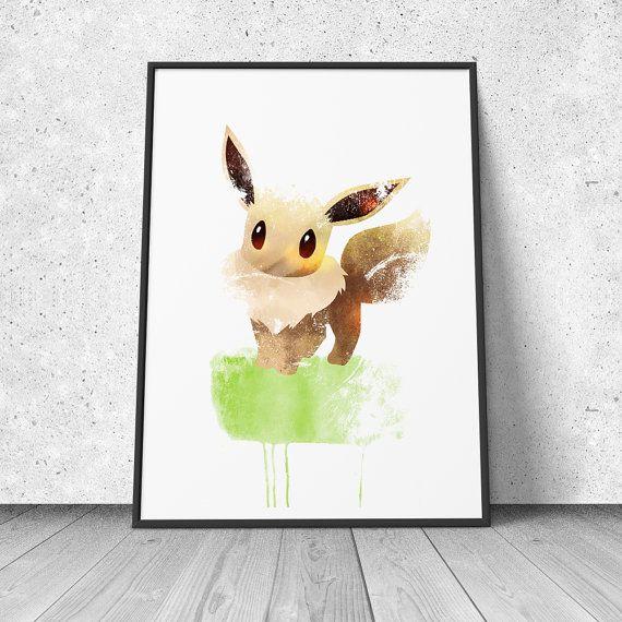 Eevee Pokemon Fan Art watercolor illustration by GeekRandoms, $14.95