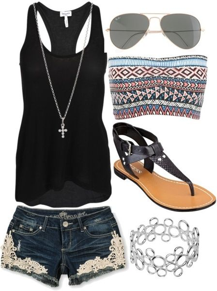 Wish | Cute Black Tank & Shorts Outfit