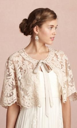 Wedding Dress Accessories - Wrap/Jacket/Shawl Ivory M BHLDN Boulevardier Capelet $60 USD - New With Tags/ Altered