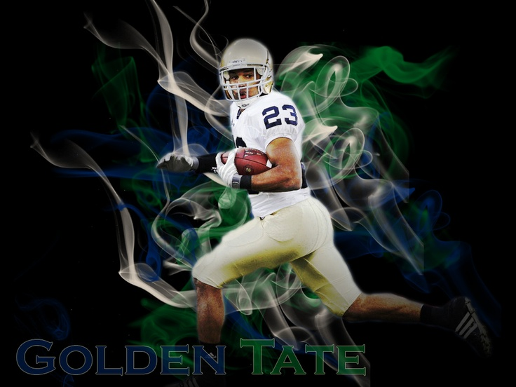 "Golden Tate. Like the Irish?  Be sure to check out and ""LIKE"" my Facebook Page https://www.facebook.com/HereComestheIrish  Please be sure to upload and share any personal pictures of your Notre Dame experience with your fellow Irish fans!"