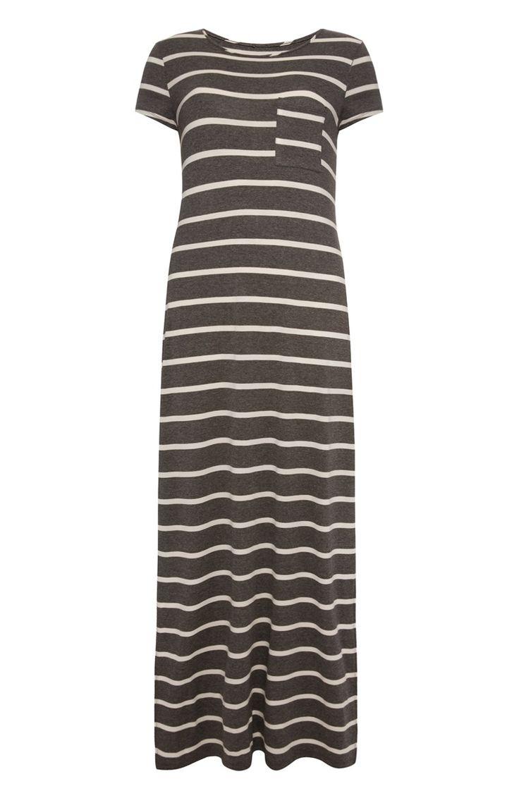 Primark - Grijs gestreepte maxi jurk met kapmouwen