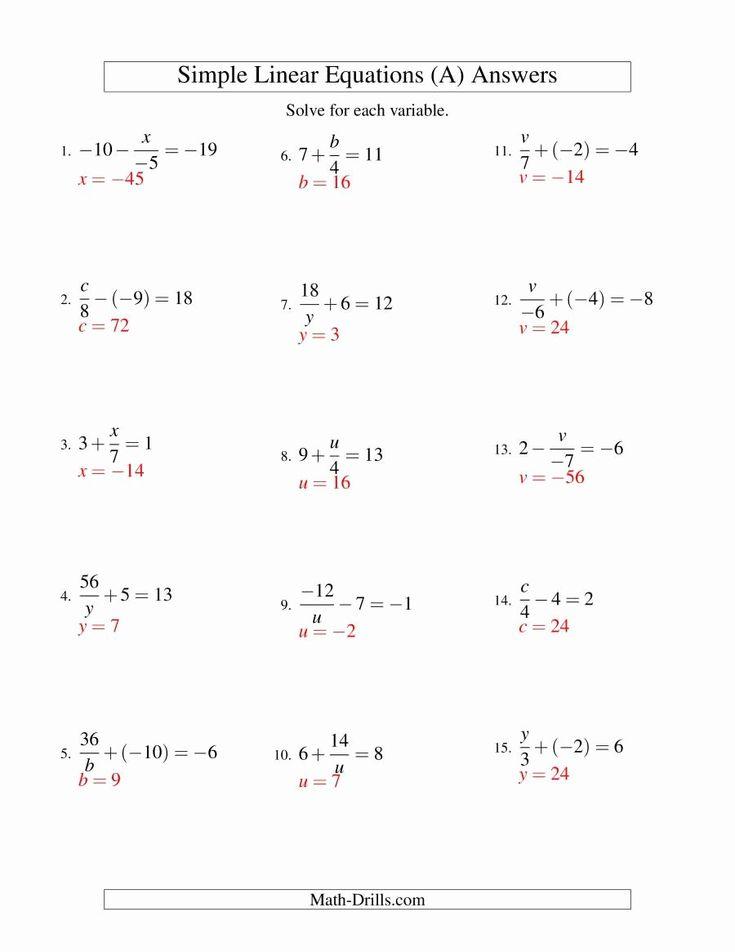 50 solving Linear Equations Worksheet Pdf in 2020 ...