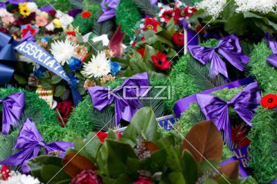 close-up shot of war memorial bouquet. - Extreme close-up shot of war memorial bouquet.