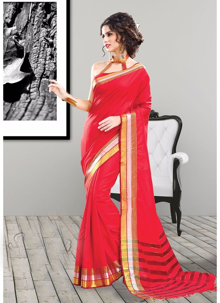 Red Wholesale Designer Saree Supplier From India
