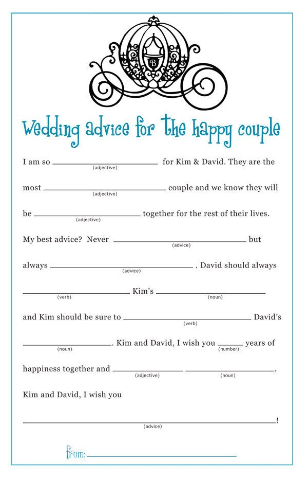 guest libs wedding edition template - cinderella princess bridal shower wedding mad lib