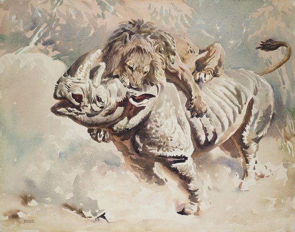#Raymond #Sheppard #Lion attacking #Rhino  Signed #Watercolour on Watchmen board #painting #wildlife #art #modern #Britishart #LLFA