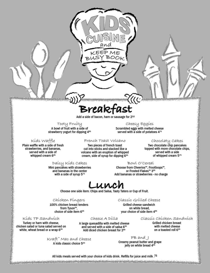 The Turning Point Restaurant Kids Menu Culinary Delights - Cafe Menu Template