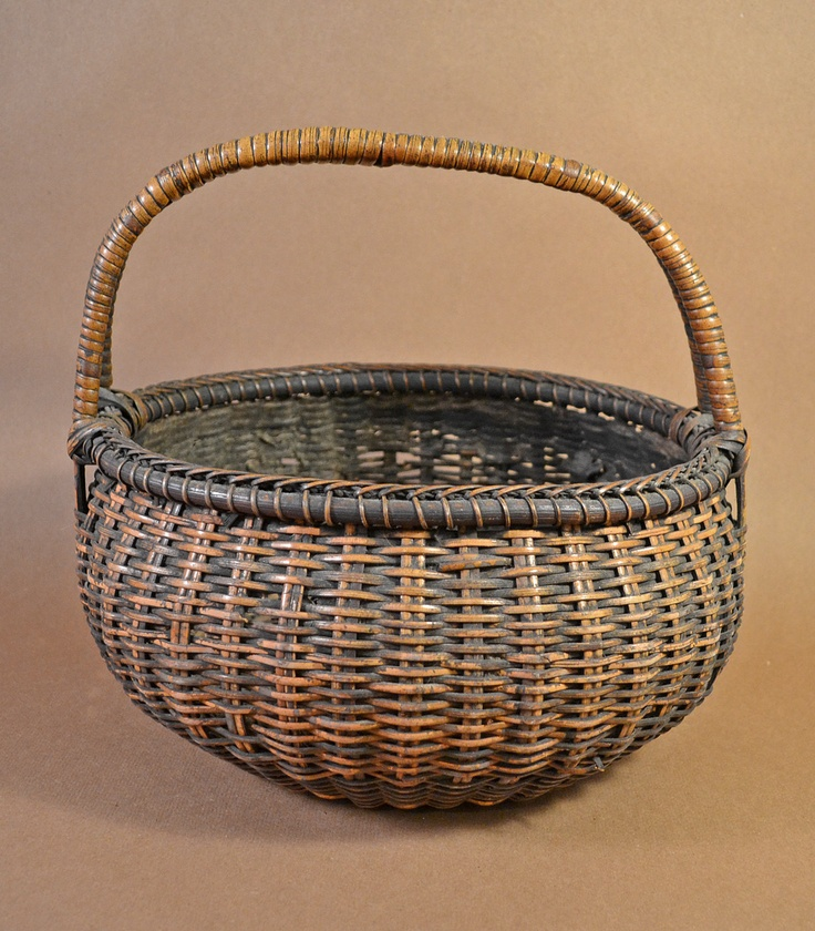 Antique Japanese Woven Handled Basket with Great Patina. $75.00, via Etsy.