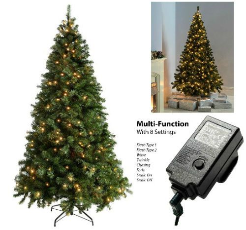 Pre-Lit Christmas Tree 7Ft Warm White LED Lights Xmas Home Decoration Green New  #Unbranded