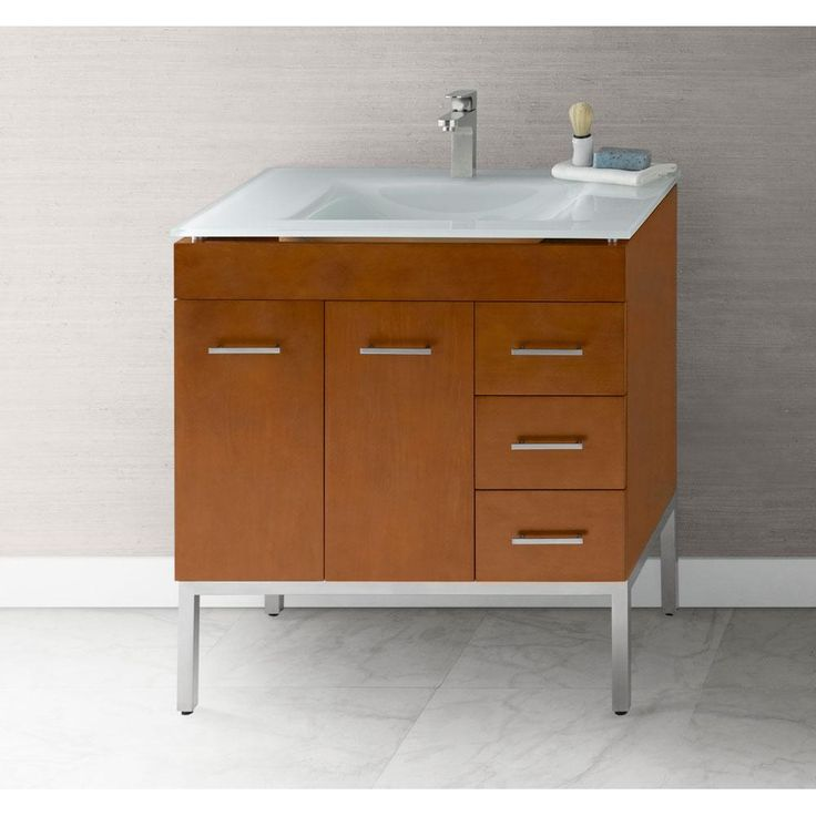 The Somerville Showroom - Ronbow - 037031-6L-F08 - Venus 31'' Bathroom Vanity Base Cabinet in Cinnamon - Doors on Left, Metal Legs -