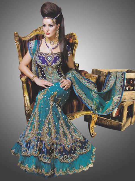 The Indian bride has a variety of Indian bridal wear options to sparkle, glow, glitter as she adorn herself in the widest choices of embroidered fabrics and beautiful fancy jewels.