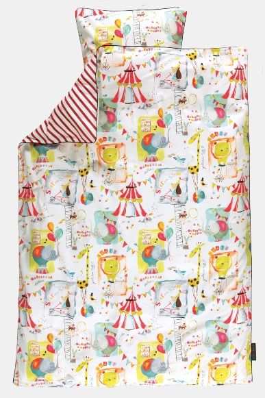 Cotton white w abstract circus print - Stoff & Stil - fabric for DIY - bed linen / DIY bedding