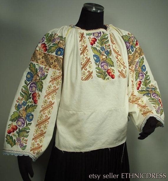 RARE Romanian hand-embroidered peasant blouse - traditional ethnic folk costume chemise | linen floral design | boho hippie fashion