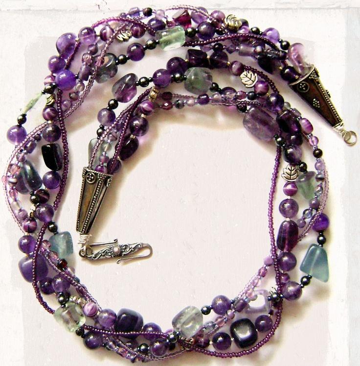 22 inches long Multi Strand Dark Purple Fluorite and Amethyst by maggiesbeadery