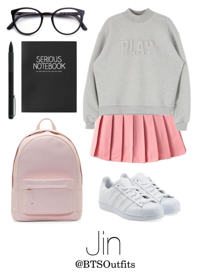 """School with Jin"" by btsoutfits ❤ liked on Polyvore featuring PB 0110, adidas Originals, Topshop, IDEA International and STELLA McCARTNEY"