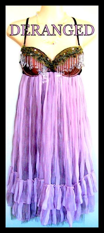 Deranged Fashions Lavender and Mushroom party dress. Size 14 B cup