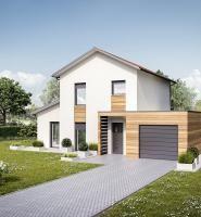 Maison à étage avec garage en toiture plate et porche d'entrée - Mètre Carré