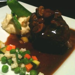 Tender eye filet steak, potato mash, seasonal vegetables served with mushroom sauce.