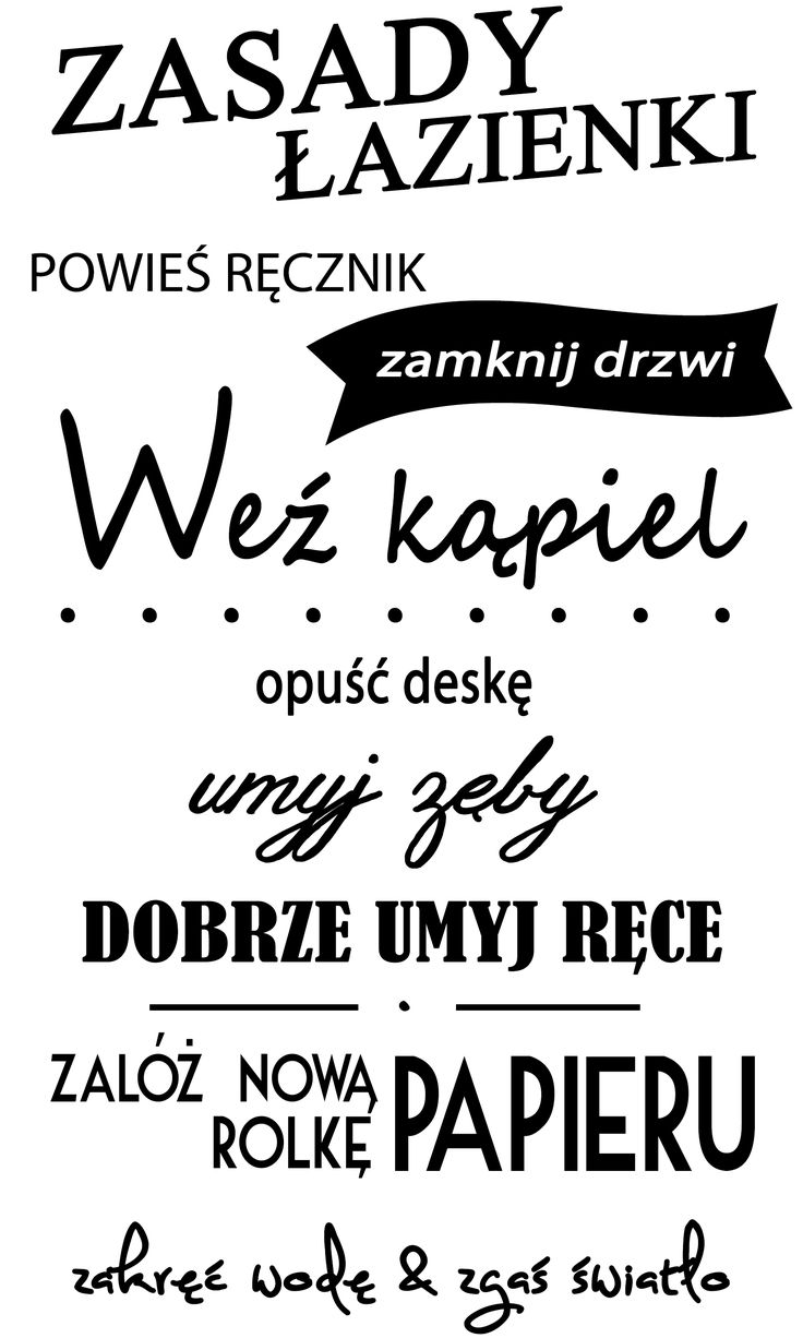 """Naklejki napisy na ścianę """"zasady łazienki"""" PROJEKT 687 AG.art deco"""