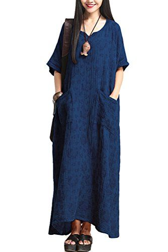 Mordenmiss Women's New Plus Size Jacquard Maxi Dress with Pockets Navy Blue Mordenmiss http://smile.amazon.com/dp/B013JF9EXQ/ref=cm_sw_r_pi_dp_wD76vb0DFSNZP
