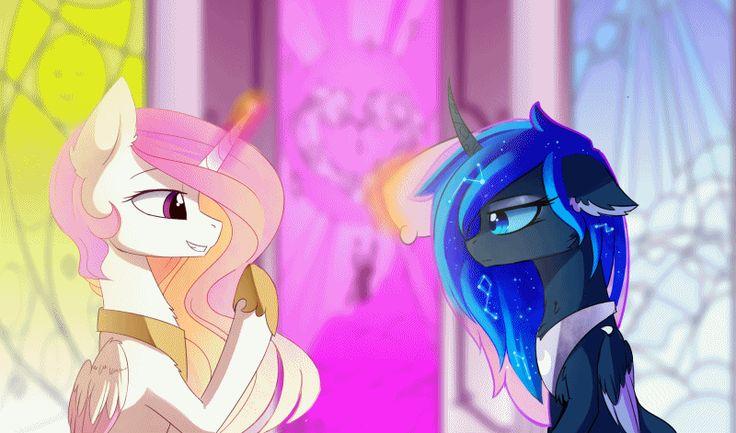 my little pony,Мой маленький пони,фэндомы,mlp gif,Princess Luna,принцесса Луна,royal,Princess Celestia,Принцесса Селестия