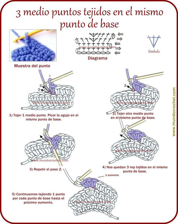 3 medio puntos tejidos en el mismo punto de base a crochet o ganchillo