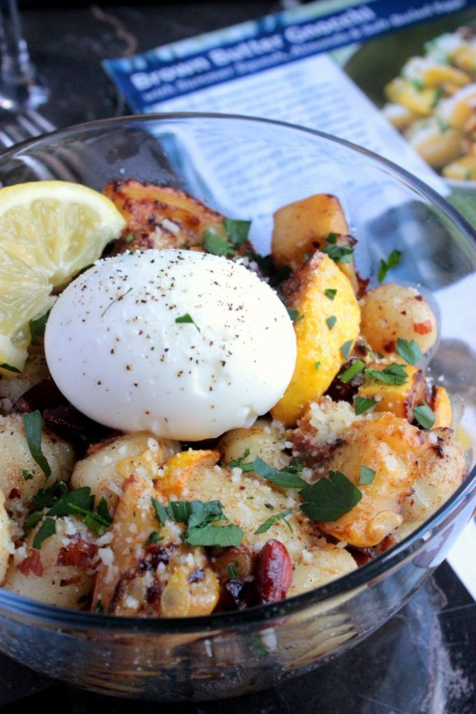 Brown Butter Gnocchi with Summer Squash, Almonds & Soft-Boiled Eggs Gnocchi with brown butter—simply butter that has been heated to a deep golden brown, developing a deliciously toasty, nutty flavor. Chopped almonds accent the brown butter sauce, while sautéed yellow squash adds tender bite (and a pop of bright, sunny color). A pair of silky soft-boiled eggs round out the dish with the perfect amount of satisfying richness