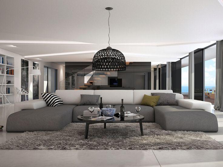 Canapé panoramique 7 places en simili SICILE - Bicolore blanc et gris