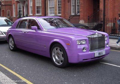 a purple color Rolls Royce Phantom