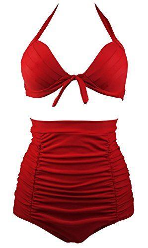 Cocoship Retro Red Elegant High Waisted Bikini Vintage Swimsuits Halter Bathing Suit S(FBA)