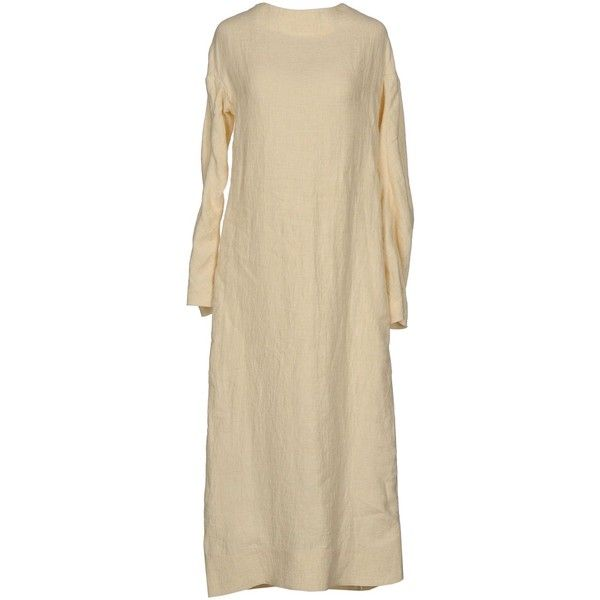Marni 3/4 Length Dress ($970) ❤ liked on Polyvore featuring dresses, beige, beige dress, long sleeve zipper dress, brown long sleeve dress, long sleeve dresses and pocket dress