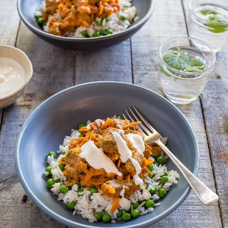 Quick Lamb Curry with Minted Pea Rice and Yoghurt Drizzle