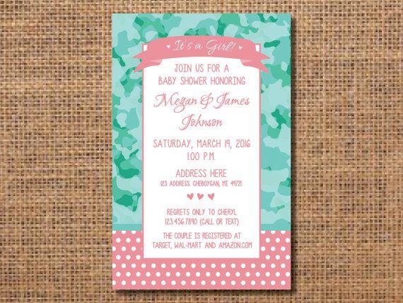 Camouflage Baby Shower Invitation, Girl Camouflage Shower Invitation, Pink  And Teal Camouflage Invitation,