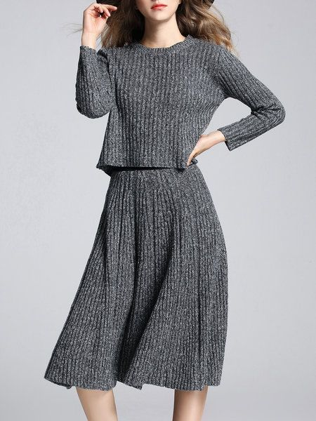 Shop Midi Dresses - Gray Simple Folds Sweater Dress online. Discover unique designers fashion at StyleWe.com.