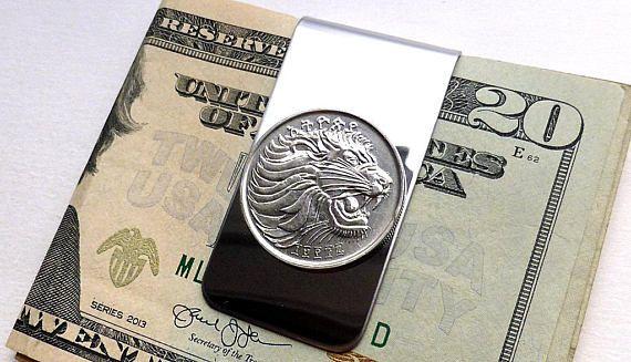 Ethiopian coin money clip Lion African Men's wallet