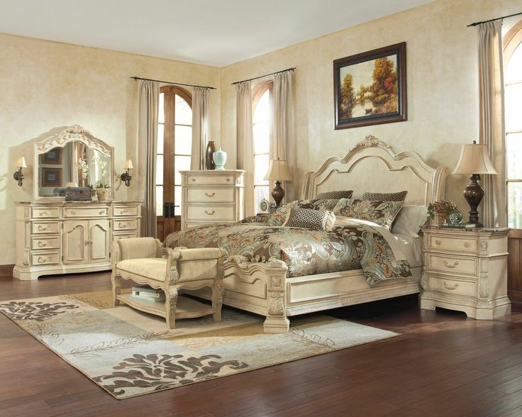 Ashley Ortanique Old World Birch Asian King Queen SLEIGH BED Master Bedroom Set