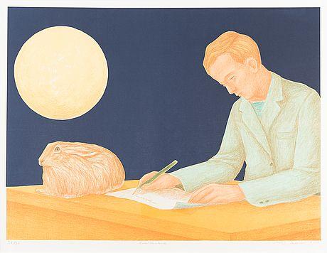 Risto Suomi: Kuutamokirje, 2014, litografia, 43,5x58,5 cm, edition 36/75 - Bukowskis Market 5/2016