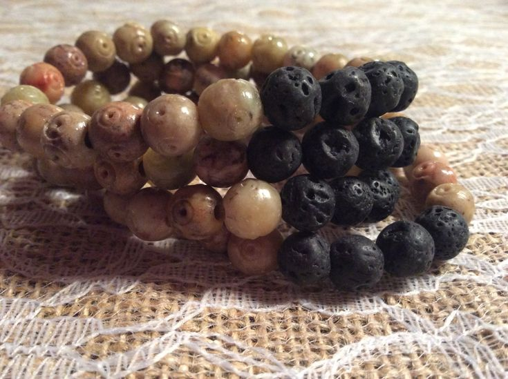 Aromatherapy lava bead diffuser bracelet for essential oils-Soap Stone 8mm Beads by MickandNick on Etsy