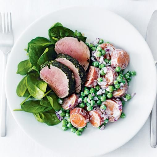 Herb-crusted pork with sweet potato and pea salad