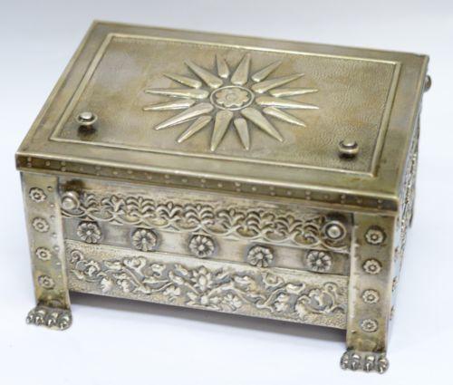 Vintage-Sterling-Silver-925-Large-Trinket-BOX-Greek-VERGINA-SUN-Symbol