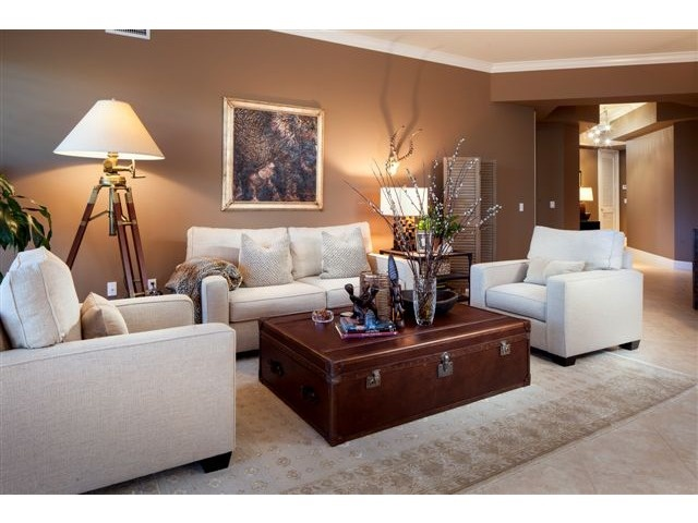Brown Family Room With Light Tan Furniture And Soft Lighting Beautiful Olde Naples