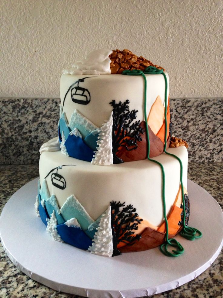 Snowboarding rock climbing wedding cake