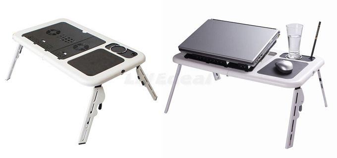 15,50€ για ένα Τραπεζάκι Laptop e-Table αναδιπλούμενο, με 2 ανεμιστήρες ψύξης, θέση για το mouse pad και θήκη για ποτήρι, για να κάνετε τη δουλειά σας εύκολα, γρήγορα και βολικά, με παραλαβή από το κατάστημα Magichole ή με αποστολή στο χώρο σας! Αρχική αξία 34€
