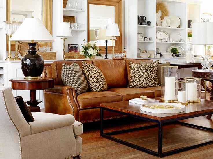 Camel leather, black accents, neutral living room, but not boring.